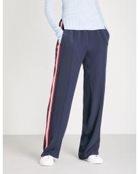 SERENA BUTE LONDON Classic Side-stripe Silk-crepe Jogging Bottoms - Blue