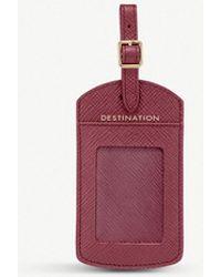 Smythson Panama Cross-grain Leather luggage Tag - Purple