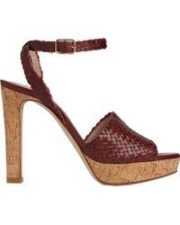 040d2bbe9874 L.K.Bennett Mel Cross Strap Block Heeled Sandals in Red - Lyst