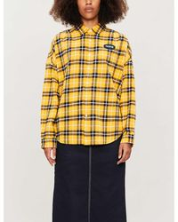Chocoolate Check-print Loose-fit Cotton Shirt - Yellow