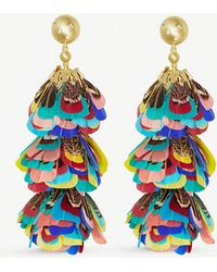 Kendra Scott - Lenni 14ct Gold-plated And Feather Tassel Earrings - Lyst