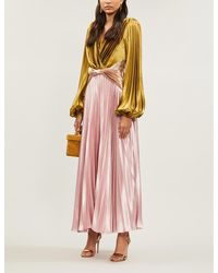 Peter Pilotto Balloon-sleeve Pleated Charmeuse Gown - Pink