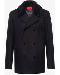HUGO Double-breasted Wool-blend Coat - Black