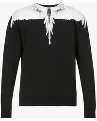 Marcelo Burlon Wings Graphic-print Cotton-jersey Sweatshirt - Black