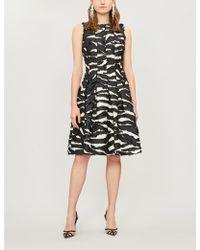 Oscar de la Renta Zebra-print Woven Knee-length Dress - Black