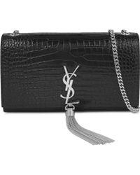 c069dbb804f Saint Laurent Ladies Black Monogram Crocodile-embossed Leather Satchel