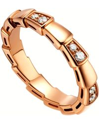 BVLGARI - Serpenti 18kt Rose-gold And Diamond Ring - Lyst