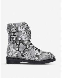 Kurt Geiger Stoop Snake Print Leather Boots - Gray