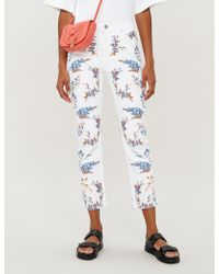 Maje Pia Mid-rise Floral-embroidered Skinny Jeans - Multicolour