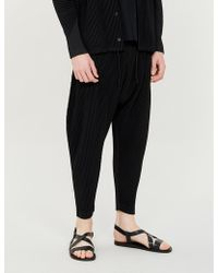 Homme Plissé Issey Miyake - Cropped Dropped-crotch Regular-fit Pleated-crepe Trousers - Lyst