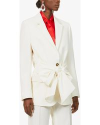 MSGM Belted Single-breasted Wool-blend Jacket - White