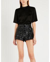 Maje - High-rise Sequin-embellished Velvet Shorts - Lyst