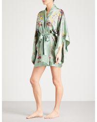 Meng Floral-print Silk-satin Kimono Robe - Green