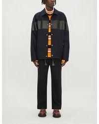 Marni Leather-panelled Wool Jacket - Blue