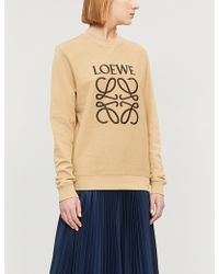 Loewe - Logo-embroidered Cotton-jersey Sweatshirt - Lyst