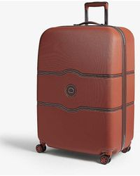 Delsey Terracotta Stripe Orange Chatelet Hard Four Wheel Suitcase - Multicolour