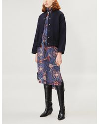 See By Chloé Textured Wool-blend Bomber Jacket - Blue