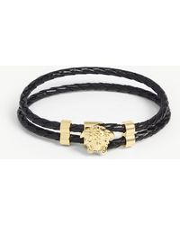 Versace Leather Wrap Bracelet - Black