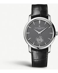 Vacheron Constantin - 82172/000p 9811 Patrimony Traditionnelle Platinum And Crocodile-embossed Leather Strap Watch - Lyst