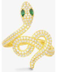 Apm Monaco - Wonderland Snake Yellow-tone Sterling Silver, Zirconia And Green Nano Ring - Lyst