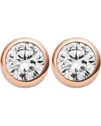 Michael Kors - Park Avenue Rose-gold Stud Earrings - Lyst