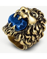 Gucci Lion Head Aged Metal Ring - Metallic