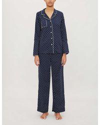 Derek Rose Plaza Polka Dot-print Cotton Pajama Set - Blue