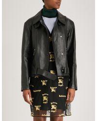 Burberry - Burnham Leather Biker Jacket - Lyst