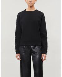 Maje Striped Stud-embellished Neoprene Sweatshirt - Black