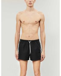 Calvin Klein Branded-tape Relaxed-fit Shell Shorts - Black