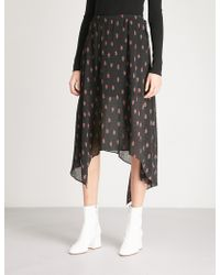 Mo&co. - Floral-print Asymmetric Crepe Skirt - Lyst
