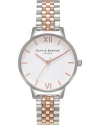Olivia Burton - Ob15wd40 Wonderland Silver And Rose-gold Plated Link Bracelet Quartz Watch - Lyst