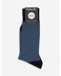 Pantherella Fabian Egyptian Cotton Ribbed Socks - Blue