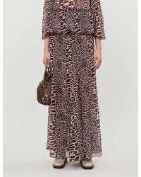 Ganni Leopard-print High-waist Pleated Crepe Maxi Skirt - Pink