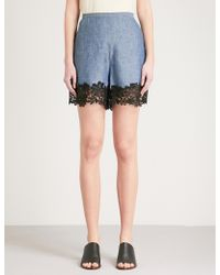 See By Chloé Floral Lace-detail High-rise Stretch-denim Shorts - Blue