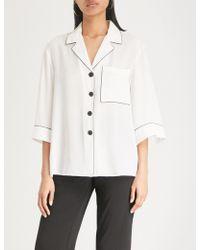Mo&co. Contrast-trim Cotton-blend Shirt - White