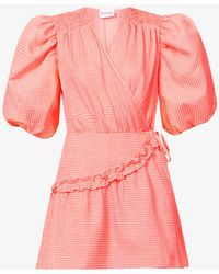 Art Dealer Vichy Gingham-print Silk- And Cotton-blend Mini Wrap Dress - Pink