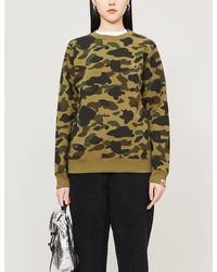 A Bathing Ape Womens Green Camouflage-patterned Cotton-jersey Jumper Xs