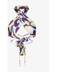 Jaded London Abstract-print Stretch-recycled Polyester Bikini Top - Blue