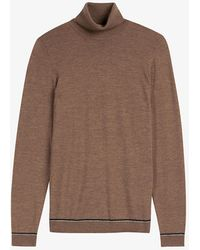Ted Baker Exarno Wool-blend Roll-neck Jumper - Brown