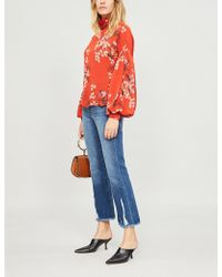 FRAME - Le Crop Flare Frayed-hem Flared Mid-rise Jeans - Lyst