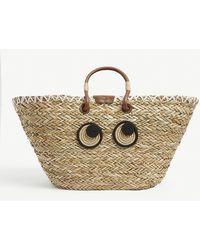 Anya Hindmarch Straw Eye-motif Basket Tote Bag - Natural