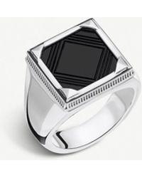 Thomas Sabo Rebel At Heart Square Onyx And Silver Signet Ring - Metallic
