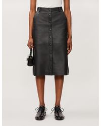 REMAIN Birger Christensen Bellis High-waist Leather Skirt - Black