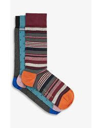 Ted Baker Sockfiv Graphic-print Cotton-blend Socks Pack Of Three - Blue