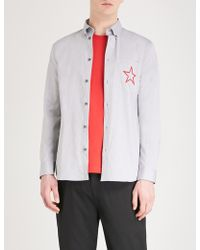 Givenchy - Star Embroidered Slim-fit Cotton Shirt - Lyst