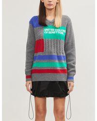 Benetton Graphic-intarsia Wool-blend Sweater - Gray