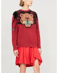KENZO - Tiger Embroidered Intarsia Kint Sweater - Lyst