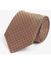 Canali Weave Pattern Silk Tie - Brown