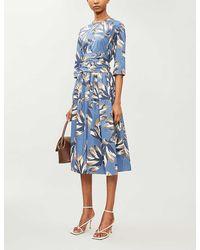 Max Mara Graphic-print Cotton-poplin Midi Dress - Blue